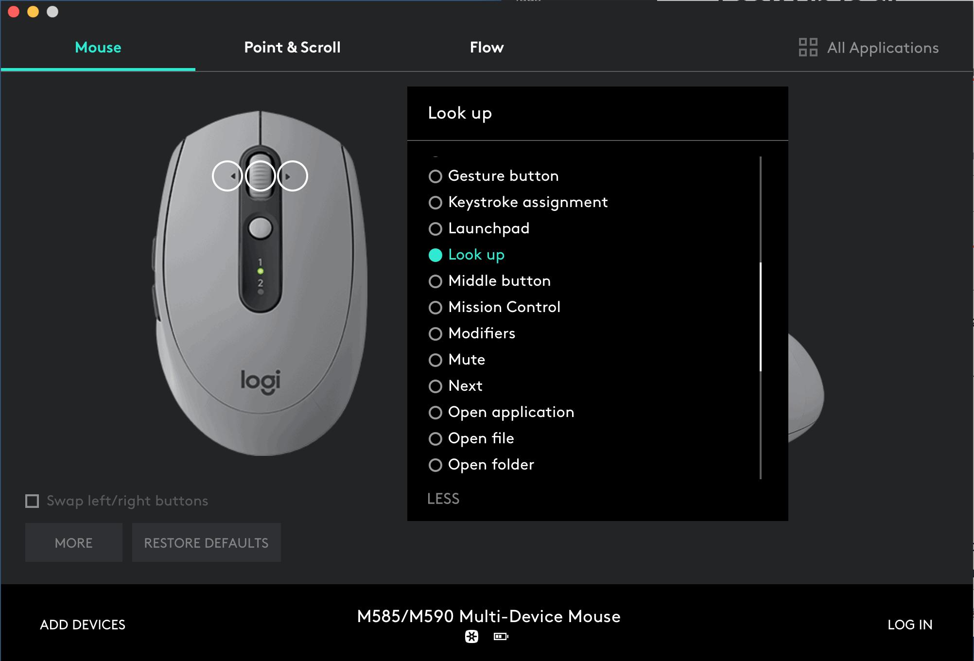 Gán Look Up cho chuột Logitech trên Mac