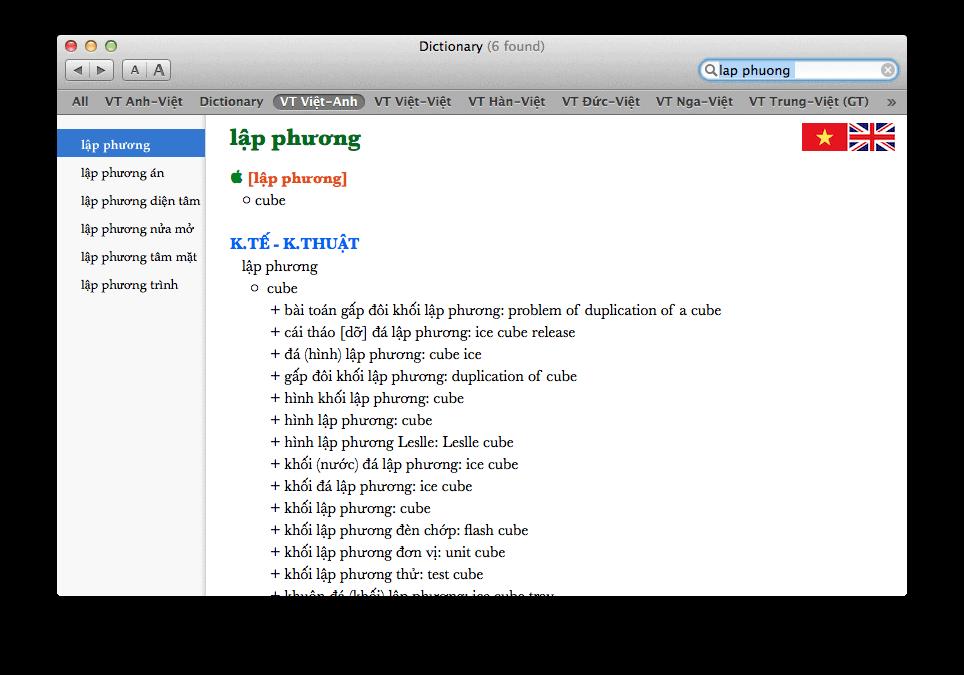 Từ điển Tiếng Anh chuyên ngành cho Mac