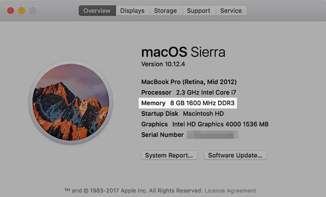 Xác định máy Mac thuộc model nào