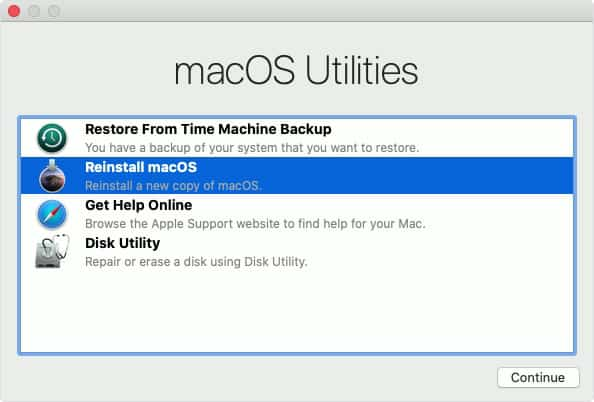 Cài lại macOS qua Internet