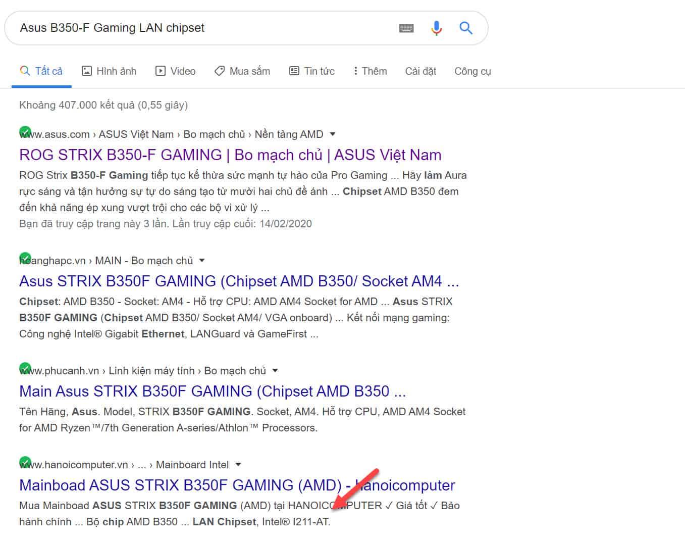 Asus B350-F Gaming LAN chipset