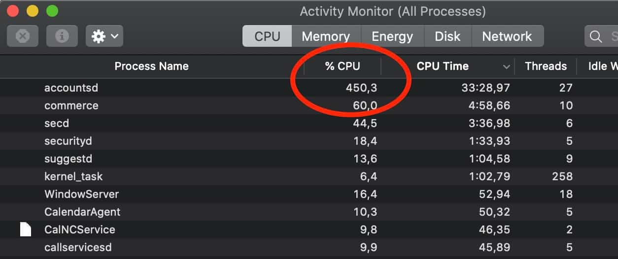 lỗi accountsd chiếm 400% 500% CPU